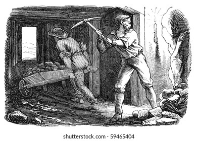 "Men working in a silver mine. Illustration originally published in Ernst von Hesse-Wartegg's ""Nord Amerika"", swedish edition published in 1880."