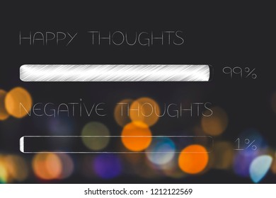 menatl health and positivity conceptual illustration: 99 per cent happy thoughts 1 per cent negative thoughts