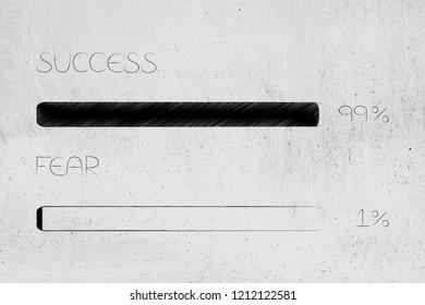 menatl health and positivity conceptual illustration: 99 per cent success 1 per cent fear