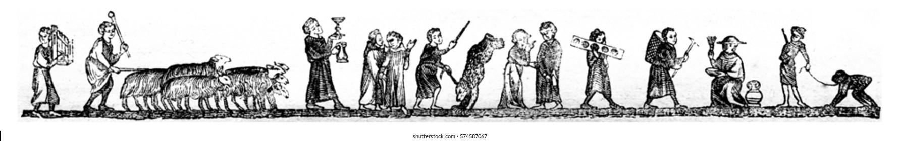 Menetrier, Shepherd, Shouter of wine, Juggler, Merchant ambulant forget, Chiffonier, Dairy, Monkey showman, vintage engraved illustration. Magasin Pittoresque 1846.