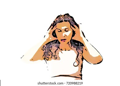 menopausal woman with a headache holding her head with fingers isolated on white background