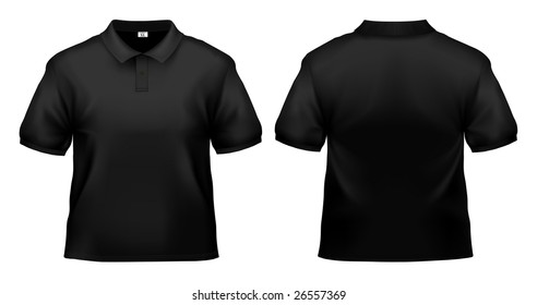 Men's black polo shirt design template isolated on white.