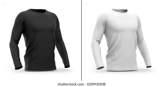 Men's crew neck t shirt with long sleeves. Half-front view. 3d rendering. Clipping paths included: whole object, collar, sleeve. Shadows and highlights mock-up templates.