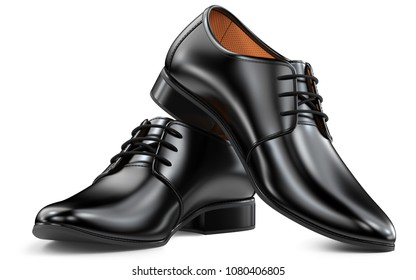 Men's fashion shoes black, classic design. Pair of manly boots 3d rendering isolated on white background