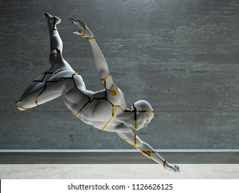 Men's figure made of stone. 3D rendering