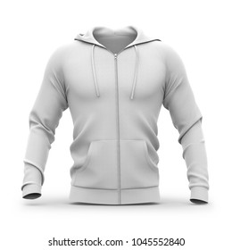 Men's hooded zip-up hoodie. Sweatshirt with pockets. Front view. 3d rendering. Clipping paths included: whole object, hood, sleeve, zipper, rope tie. Isolated on white background.