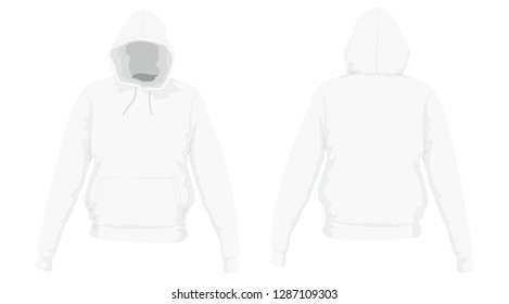 Men's hoodie. Front and back views on white background