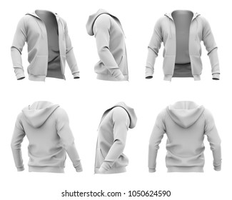 Men's hoodie with pockets and open zipper. Set of six views. 3d rendering. Isolated on white background.
