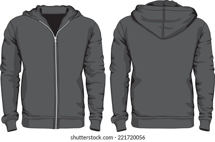 Men's hoodie shirts template. Front and back views. Raster version