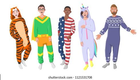 Men's Plush One-Piece Pajamas. Hooded Onesie Tiger, Superhero, American Flag, Unicorn. Onesies for Men. Boys in Pajamas, Nightwear, Loungewear.