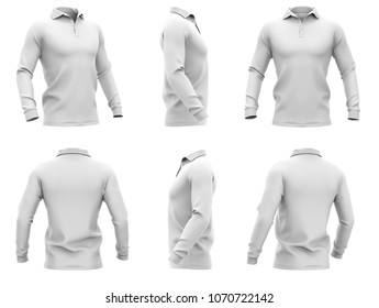 Men's polo shirt with long sleeves. Six views. 3d rendering. Clipping paths included: whole object, collar, sleeve, buttons. Isolated on white background.
