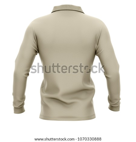 457209636597b2 Men's polo shirt with long sleeves. Back view. 3d rendering. Clipping paths  included: whole object, collar, sleeve, buttons. Isolated on white  background.