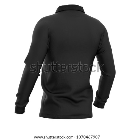 7e473a1fce2926 Men's polo shirt with long sleeves. Half-back view. 3d rendering. Clipping  paths included: whole object, collar, sleeve. Isolated on white background.