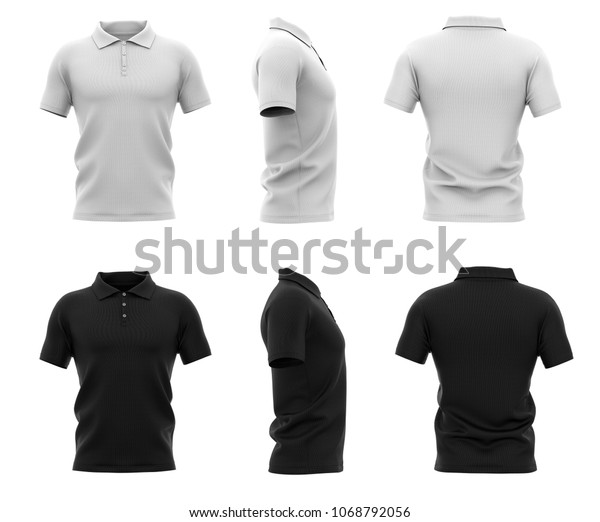 32446d43c0aaf0 Men's polo shirt with short sleeve. Back, front and side views. Black and