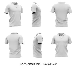 Men's polo shirt with short sleeves and with an unbuttoned collar. Six views. 3d rendering. Isolated on white background.