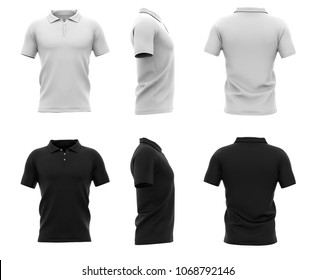 Men's polo shirt with short sleeves and with an unbuttoned collar. Back, front and side views. 3d rendering. Isolated on white background.