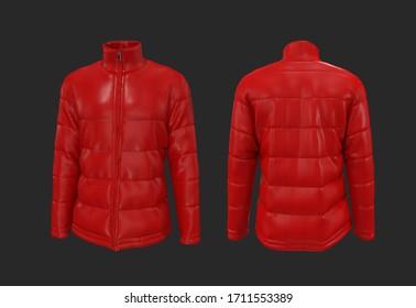 Men's red warm sport puffer jacket isolated over black background, jacket design presentation. 3d rendering, 3d illustration