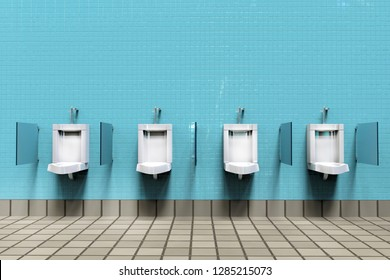 Men's room with white porcelain urinals in line. Modern clean public toilets with tiles . Comfort male toilet urinal concept. 3d illustration rendering