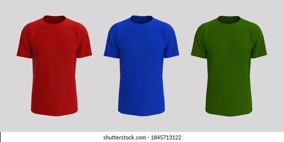 men's short sleeve t-shirt mockup, design presentation for print, 3d illustration, 3d rendering