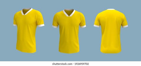 men's short-sleeve t-shirt mockup in front, side and back views, design presentation for print, 3d illustration, 3d rendering