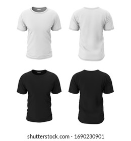 Men's simple black and white t-shirt in the form of front and back. 3d illustration of a realistic template, mocap for presentation of print design, logo.