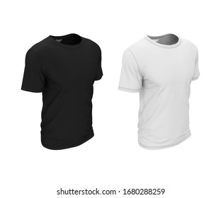 Men's simple blank clean t-shirt for design. Black and white 3d realistic illustration isolated on white background. Mock-up template for logo presentation, pattern, illustration.