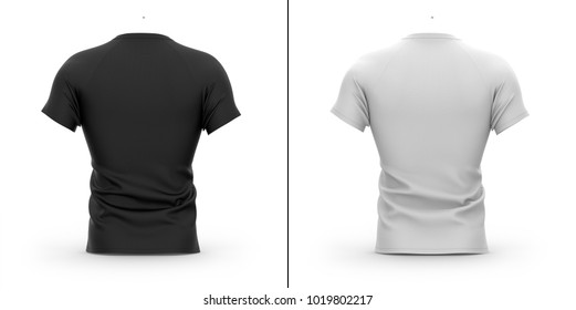 Men's t shirt with round neck and raglan sleeves. Back view. 3d rendering. Clipping paths included: whole, collar, sleeves. Isolated on white background. Shadows and highlights mock-up templates.