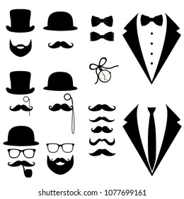 Men's tuxedo. Mustache, glasses, beard, pipe and top hat. Weddind suits with bow tie and with necktie.  illustration