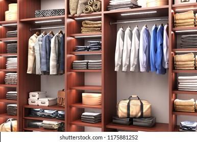 Men's  wardrobe. 3d illustration