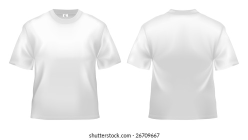 Men's white T-shirt design template (clipping path).