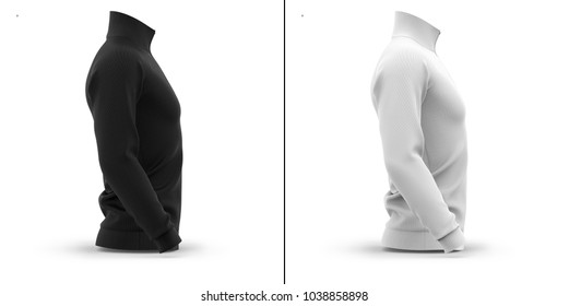 Men's zip neck pullover with raglan sleeves. Side view. 3d rendering. Clipping paths included: whole object, collar, sleeve, cuffs, zipper. Shadows and highlights mock-up templates.