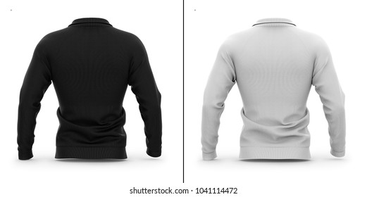Men's zip neck pullover with raglan sleeves, rubber cuffs and collar. Back view. 3d rendering. Clipping paths included: whole object, collar, sleeve, zipper. Highlights and shadows mock-up template.