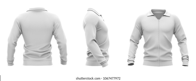 Men's zip neck pullover with raglan sleeves, rubber cuffs and collar. 3d rendering. Front, back and side views.