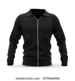 Men's zip neck pullover with raglan sleeves, rubber cuffs and collar. 3d rendering. Clipping paths included: whole object, collar, sleeve, zipper. Front view.