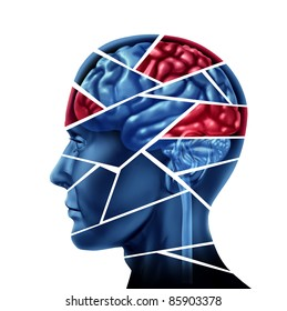 Mental disorder and neurological injury represented by a human head and mind broken in pieces to symbolize a severe medical mental trauma and cognitive illness on white background.
