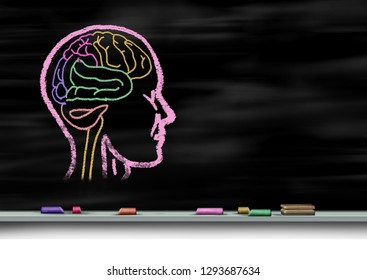 Mental health care concept and autism education or autistic development disorder as a young mind psychology as a chalk drawing on a school blackboard or chalkboard with 3D illustration elements.