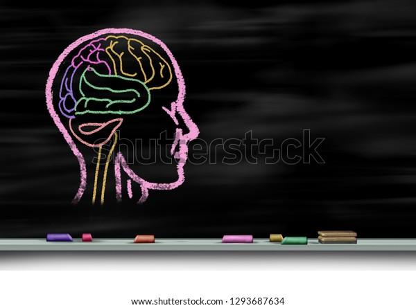 Concepto de atención de salud mental y educación para el autismo o trastorno de desarrollo autista como psicología mental joven como una tiza dibujada en una pizarra o pizarra escolar con elementos ilustrativos 3D.