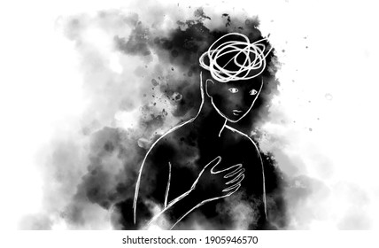 Mental health concept digital illustration. Depression, regret, anxiety and stress.