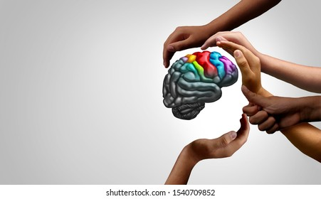 Mental health support and autistic brain and autism disorder symptoms or Asperger syndrome as a neurology icon and psychology or psychiatry diagnosis concept in a 3D illustration style.