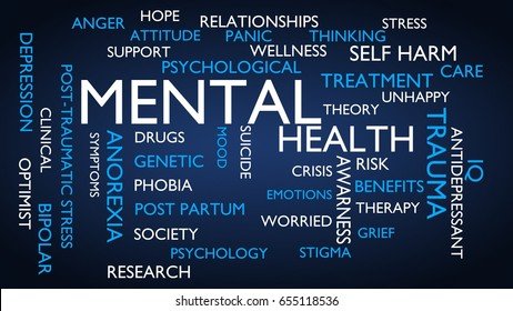 Mental health word tag cloud. 3D rendering, blue variant.