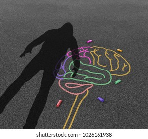 Mental illness violence and violent behavior psychology disorder as the shadow of a troubled angry person or student with chalk drawing of a human brain in a 3D illustration style.