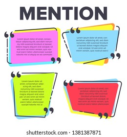 Mention Quotation Template In Frame Quotes . Creative Innovative Colored Speech Texting Boxes Mention Modern Typography Design. Color Paper Isolated On White Background Flat Cartoon Illustration