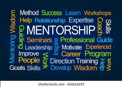 Mentorship Word Cloud on Blue Background