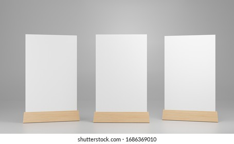 Menu frame standing on wood table isolated on white background with clipping path. space for text marketing promotion Bar restaurant ,Stand for booklets with white sheets of paper. 3d render