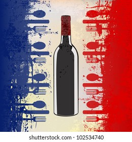 french menu vector template over flag stock vector royalty free