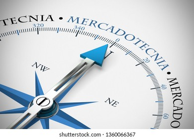 "Mercadotecnia (""Marketing"" in Spanish) on compass as advertising concept (3d rendering)"