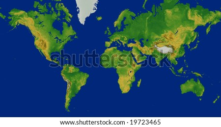 Terrain World Map.Mercator World Map Terrain Europe Centered Stock Illustration