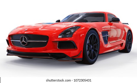 Mercedes-Benz SLS red. Three-dimensional raster illustration. Isolated car on white background. 3d rendering.