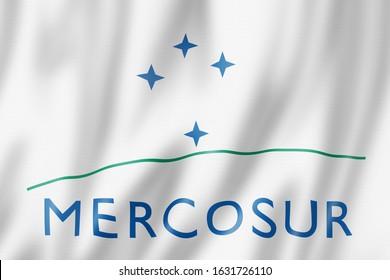 Mercosur flag, Southern Common Market. 3D illustration