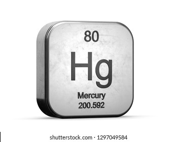 Mercury element from the periodic table series. Metallic icon set 3D rendered on white background